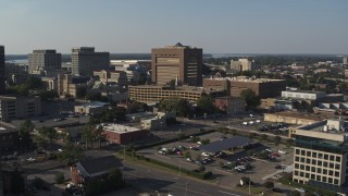 DX0002_180_011 - 5.7K stock footage aerial video ascend and focus on the Shelby County Criminal Justice Center, Downtown Memphis, Tennessee