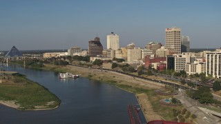 DX0002_180_020 - 5.7K stock footage aerial video of office buildings by Wolf River Harbor, Downtown Memphis, Tennessee