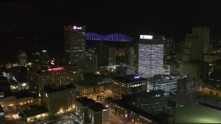 DX0002_182_031 - 5.7K stock footage aerial video orbiting the One Commerce Square and First Tennessee Building at night in Downtown Memphis, Tennessee