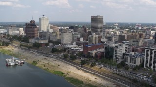 DX0002_183_002 - 5.7K stock footage aerial video of panning to office buildings near the water, Downtown Memphis, Tennessee