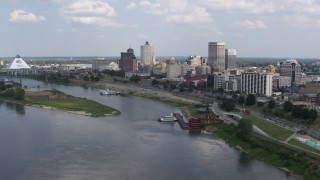 DX0002_183_005 - 5.7K stock footage aerial video of approaching the city's skyline, Downtown Memphis, Tennessee