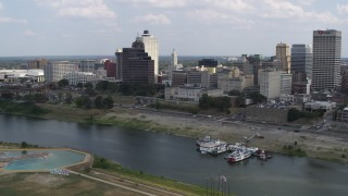 DX0002_183_006 - 5.7K stock footage aerial video of passing by the city's skyline, Downtown Memphis, Tennessee