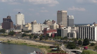 DX0002_183_022 - 5.7K stock footage aerial video of One Commerce Square and city buildings, Downtown Memphis, Tennessee
