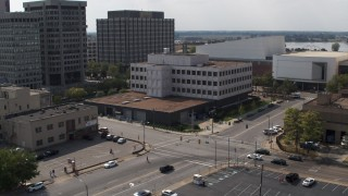 DX0002_183_032 - 5.7K stock footage aerial video of orbiting the Federal Reserve Bank in Downtown Memphis, Tennessee