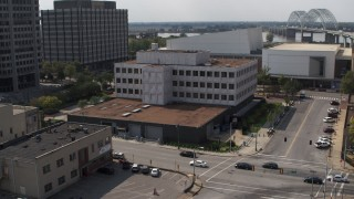 DX0002_183_033 - 5.7K stock footage aerial video approach and slowly orbit the Federal Reserve Bank in Downtown Memphis, Tennessee
