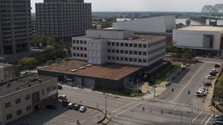 DX0002_183_035 - 5.7K stock footage aerial video of circling the Federal Reserve Bank in Downtown Memphis, Tennessee