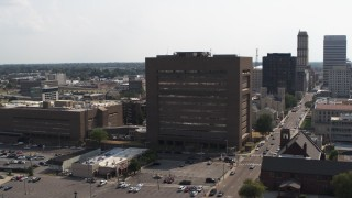 DX0002_184_003 - 5.7K stock footage aerial video of orbiting the county courthouse in Downtown Memphis, Tennessee
