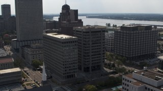 DX0002_184_009 - 5.7K stock footage aerial video of orbiting a county government building and police station in Downtown Memphis, Tennessee
