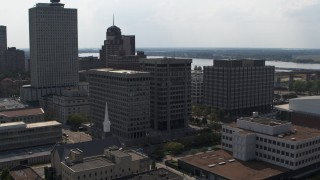 DX0002_184_011 - 5.7K stock footage aerial video of slowly circling a county government building beside police station in Downtown Memphis, Tennessee