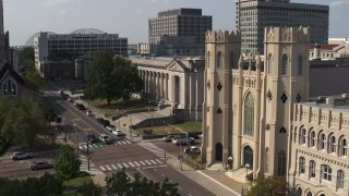 DX0002_184_028 - 5.7K stock footage aerial video of courthouse and church in Downtown Memphis, Tennessee