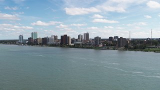 DX0002_189_011 - 5.7K stock footage aerial video of the skyline of Windsor, Ontario, Canada