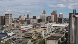 DX0002_189_013 - 5.7K stock footage aerial video of flying by the city's skyline, Downtown Detroit, Michigan