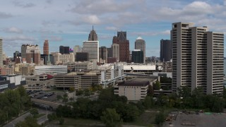DX0002_189_020 - 5.7K stock footage aerial video a view of the skyline while descending, Downtown Detroit, Michigan