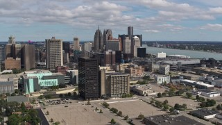 DX0002_189_025 - 5.7K stock footage aerial video a view of skyline in Downtown Detroit, Michigan seen from office buildings