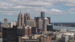 DX0002_189_033 - 5.7K stock footage aerial video a view of the tall skyscrapers in the city's skyline, Downtown Detroit, Michigan