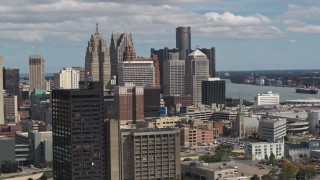 DX0002_189_034 - 5.7K stock footage aerial video of the tall skyscrapers in the city's skyline, Downtown Detroit, Michigan