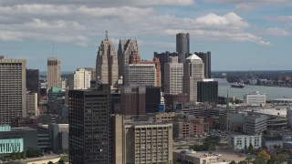 DX0002_189_039 - 5.7K stock footage aerial video of the city's towering skyscrapers, Downtown Detroit, Michigan