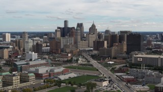 DX0002_190_017 - 5.7K stock footage aerial video the towering skyscrapers in the city's skyline, Downtown Detroit, Michigan