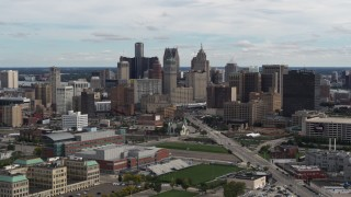 DX0002_190_020 - 5.7K stock footage aerial video of passing the towering skyscrapers in the city's skyline, Downtown Detroit, Michigan