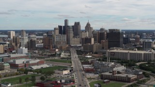 DX0002_190_021 - 5.7K stock footage aerial video flyby the towering skyscrapers in the downtown skyline, Downtown Detroit, Michigan