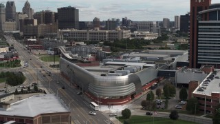 DX0002_190_024 - 5.7K stock footage aerial video orbit hotel for view of skyline at the end of Grand River Avenue, Downtown Detroit, Michigan