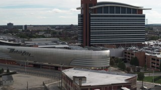 DX0002_190_026 - 5.7K stock footage aerial video a close orbit of the MotorCity Casino Hotel in Detroit, Michigan