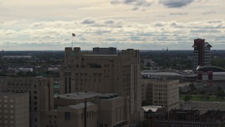 DX0002_190_044 - 5.7K stock footage aerial video an orbit of the Detroit Masonic Temple building, Detroit, Michigan
