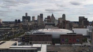 DX0002_191_001 - 5.7K stock footage aerial video flyby the city's downtown skyline and arena, Downtown Detroit, Michigan