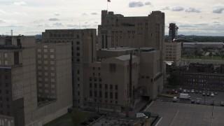 DX0002_191_006 - 5.7K stock footage aerial video descend by the Detroit Masonic Temple building, Detroit, Michigan