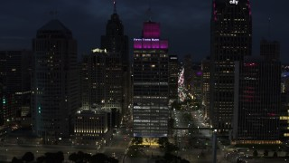 DX0002_193_017 - 5.7K stock footage aerial video of the One Woodward Avenue skyscraper at twilight, Downtown Detroit, Michigan