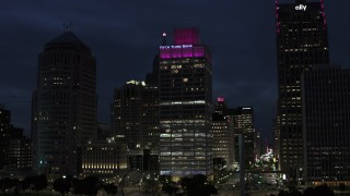 DX0002_193_018 - 5.7K stock footage aerial video fly toward the One Woodward Avenue skyscraper at twilight, Downtown Detroit, Michigan
