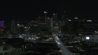 DX0002_193_030 - 5.7K stock footage aerial video of the skyscrapers in the skyline at night, Downtown Detroit, Michigan