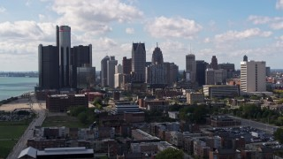 DX0002_194_008 - 5.7K stock footage aerial video of passing GM Renaissance Center and the city's skyline, Downtown Detroit, Michigan