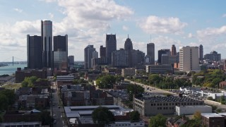 DX0002_194_009 - 5.7K stock footage aerial video of flying by GM Renaissance Center and the skyline in Downtown Detroit, Michigan