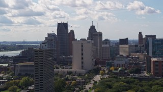 DX0002_194_026 - 5.7K stock footage aerial video of flying by part of the city's skyline in Downtown Detroit, Michigan