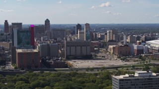 DX0002_194_032 - 5.7K stock footage aerial video flyby jail and courthouse, reveal hotel and casino Downtown Detroit, Michigan