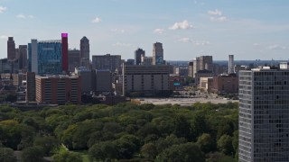 DX0002_194_033 - 5.7K stock footage aerial video flyby hotel and casino, jail and courthouse, reveal apartment buildings, Downtown Detroit, Michigan