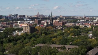 DX0002_194_035 - 5.7K stock footage aerial video a wide orbit of St. Joseph Oratory church, Detroit, Michigan