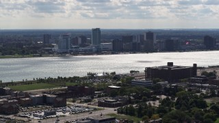 DX0002_194_038 - 5.7K stock footage aerial video of the skyline of Windsor, Ontario, Canada across the Detroit River