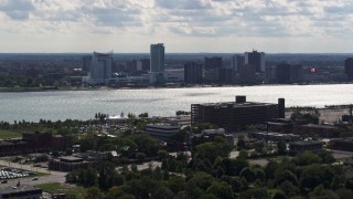DX0002_194_039 - 5.7K stock footage aerial video of the skyline of Windsor, Ontario, Canada seen from Detroit side of the river