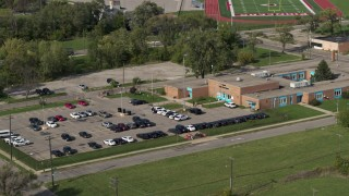 DX0002_195_035 - 5.7K stock footage aerial video of an orbit of a police station in Detroit, Michigan