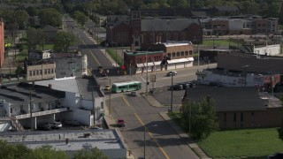 DX0002_195_041 - 5.7K stock footage aerial video of a street intersection in Detroit, Michigan
