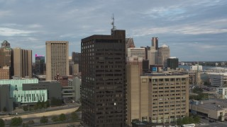 DX0002_196_048 - 5.7K stock footage aerial video orbit the Executive Plaza Building in Downtown Detroit, Michigan
