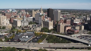 DX0002_200_003 - 5.7K stock footage aerial video approach and fly away from office towers, city buildings in Downtown Buffalo, New York