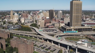 DX0002_200_004 - 5.7K stock footage aerial video of I-190 by city buildings and Seneca One Tower, Downtown Buffalo, New York