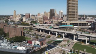 DX0002_200_008 - 5.7K stock footage aerial video of light traffic on I-190 near skyline, Downtown Buffalo, New York