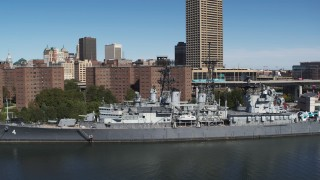 DX0002_200_017 - 5.7K stock footage aerial video of orbiting the USS Little Rock in Downtown Buffalo, New York