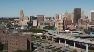 DX0002_201_003 - 5.7K stock footage aerial video of the County and City Hall building in Downtown Buffalo, New York
