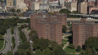 DX0002_201_005 - 5.7K stock footage aerial video descend past Marine Drive Apartments, Downtown Buffalo, New York