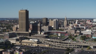 DX0002_201_009 - 5.7K stock footage aerial video fly away from Seneca One Tower and Sahlen Field, Downtown Buffalo, New York